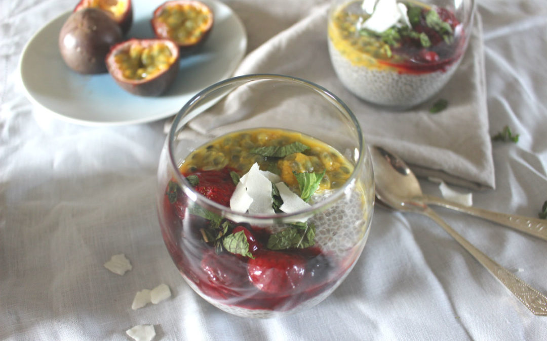 Coconut Chia Pudding with Berries & Passion Fruit – The Honest Project