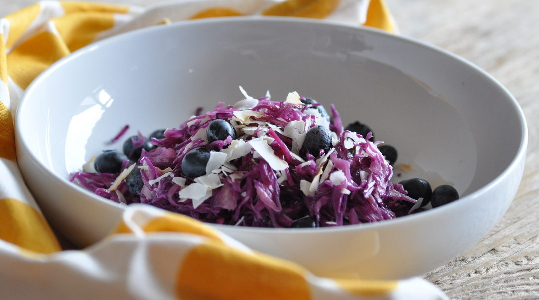 Red Cabbage Salad with Coconut & Blueberries