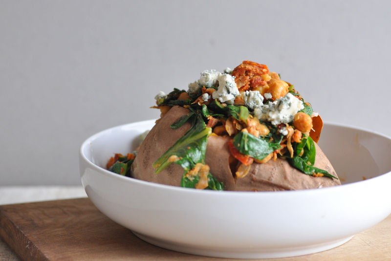 Baked Sweet Potato with Warm Chickpeas, Sundried Tomatoes & Spinach