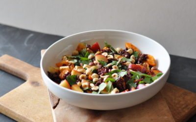 Black Rice & Stone fruit Salad with Halloumi