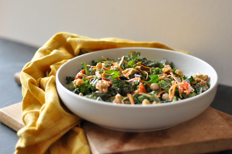 Kale Salad with a Garlic-Tahini Dressing